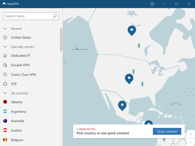 NordVPN-User-interface