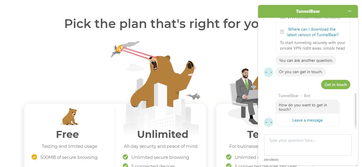 Tunnelbear-Customer-support-live-chat