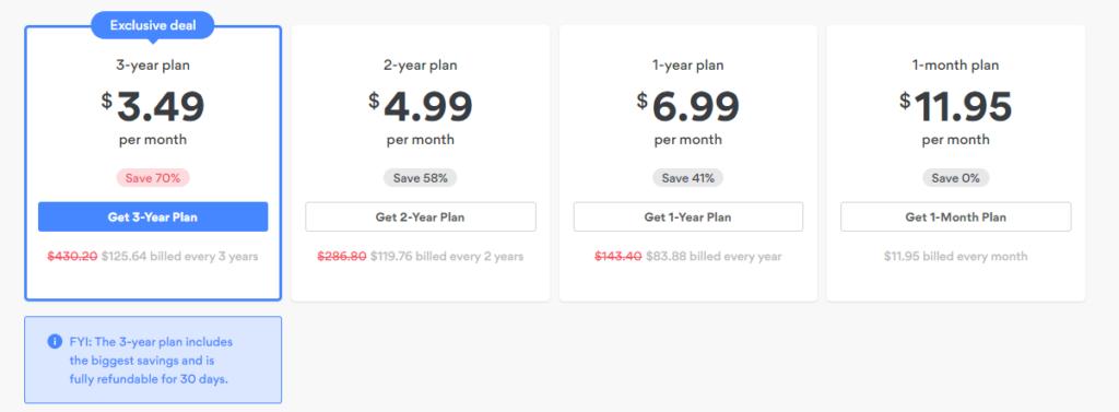 pricing plans of nordvpn